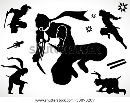 Ninja silhouettes and weapons - stock vector