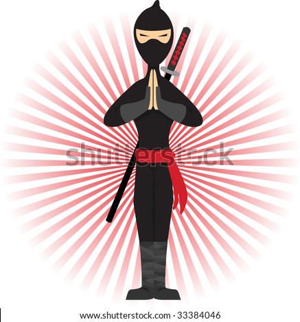 Ninja standing in pose accented by red rays - stock vector