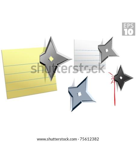 Ninja star note push pins, stuck on wall message - stock vector