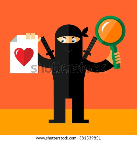 Ninja with magnifier glass and heart icon. Online Dating. Flat style vector illustration. Ninja in black mask's clothes - stock vector