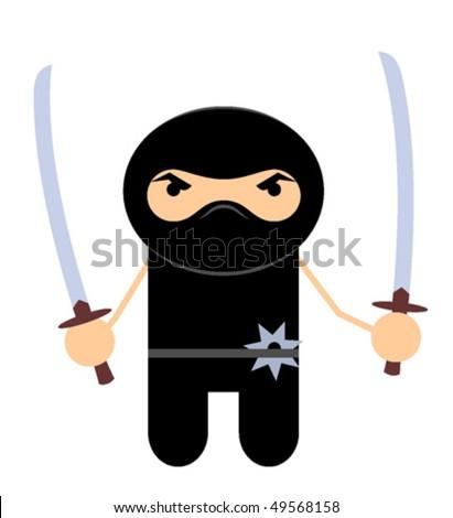 Ninjas with swords - stock vector