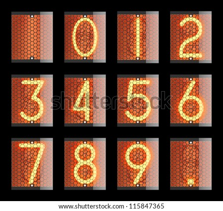 Nixie tube indicator. The number of retro, Transparency guaranteed. Vector illustration. - stock vector