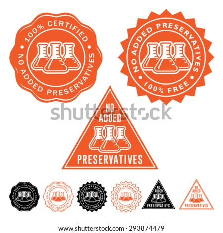 No Added Preservatives Seals Icons Set - stock vector