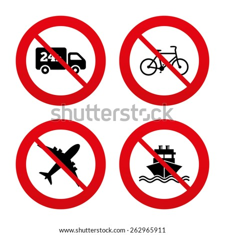 No, Ban or Stop signs. Cargo truck and shipping icons. Shipping and eco bicycle delivery signs. Transport symbols. 24h service. Prohibition forbidden red symbols. Vector - stock vector