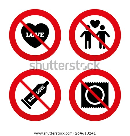 No, Ban or Stop signs. Condom safe sex icons. Lovers Gay couple signs. Male love male. Heart symbol. Prohibition forbidden red symbols. Vector - stock vector