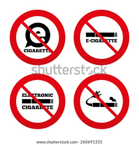 No, Ban or Stop signs. E-Cigarette with plug icons. Electronic smoking symbols. Speech bubble sign. Prohibition forbidden red symbols. Vector - stock vector