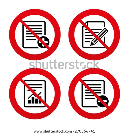 No, Ban or Stop signs. File document icons. Document with chart or graph symbol. Edit content with pencil sign. Add file. Prohibition forbidden red symbols. Vector - stock vector
