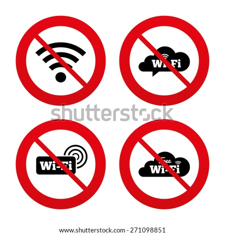 No, Ban or Stop signs. Free Wifi Wireless Network cloud speech bubble icons. Wi-fi zone sign symbols. Prohibition forbidden red symbols. Vector - stock vector