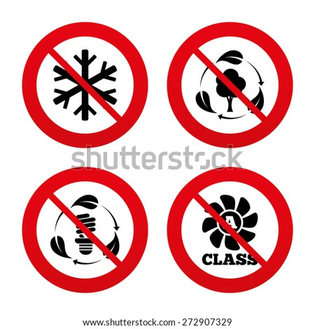 No, Ban or Stop signs. Fresh air icon. Forest tree with leaves sign. Fluorescent energy lamp bulb symbol. A-class ventilation. Air conditioning symbol. Prohibition forbidden red symbols. Vector - stock vector