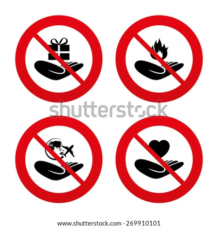 No, Ban or Stop signs. Helping hands icons. Health and travel trip insurance symbols. Gift present box sign. Fire protection. Prohibition forbidden red symbols. Vector - stock vector
