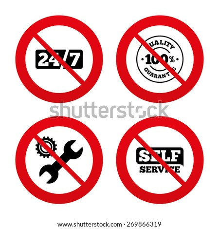 No, Ban or Stop signs. Repair fix tool icons. 24h Customer support service signs. 100% quality guarantee symbol. Cogwheel gear with wrench key. Prohibition forbidden red symbols. Vector - stock vector