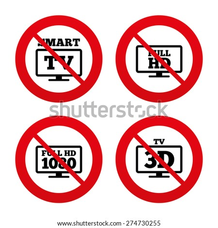 No, Ban or Stop signs. Smart TV mode icon. Widescreen symbol. Full hd 1080p resolution. 3D Television sign. Prohibition forbidden red symbols. Vector - stock vector