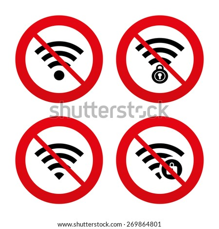 No, Ban or Stop signs. Wifi Wireless Network icons. Wi-fi zone locked symbols. Password protected Wi-fi sign. Prohibition forbidden red symbols. Vector - stock vector