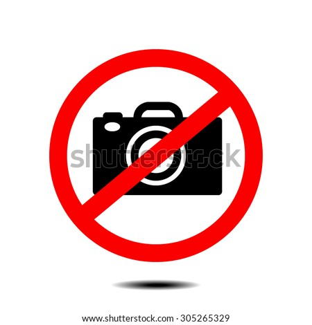 no camera no photo sign red prohibition - vector - stock vector
