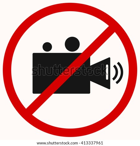 No camera, no video sign. Red prohibition vector symbol. You can simply change color and size