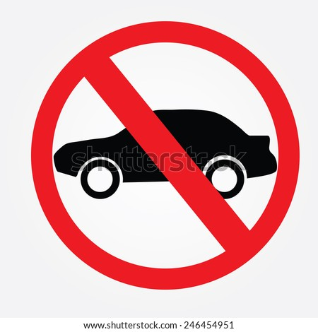 No car or no parking traffic sign,prohibit sign - stock vector