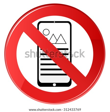 No Cell Phone Sign - stock vector