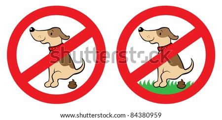 No dog poop sign, vector illustration - stock vector