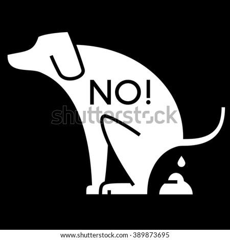 no dog pooping cutout sign - stock vector