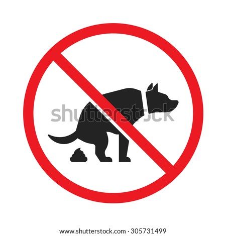 No dog pooping sign isolated on white background - stock vector