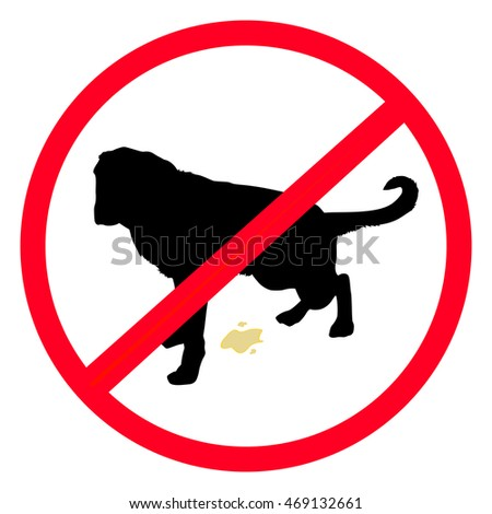 No Dogs Allowed Silhouette Vector Sign - No dogs allowed vector sign with a black silhouette of a dog peeing in a red circle, icon illustration design.