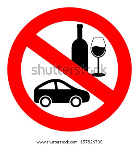 No drink and drive vector sign - stock vector