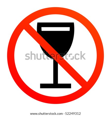 No drink or alcohol sign, vector illustration