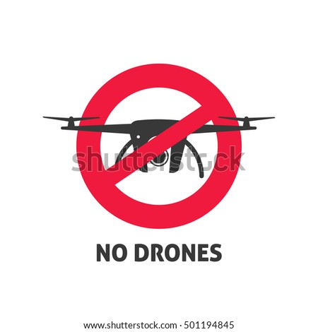 No Drone Sign Vector Illustration Isolated On White Background