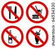No eating and drinking signs. - stock vector