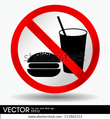 no eating and no drinks sign - stock vector