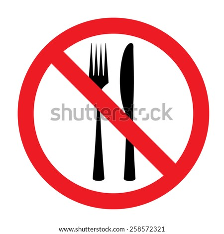 no eating sign - stock vector