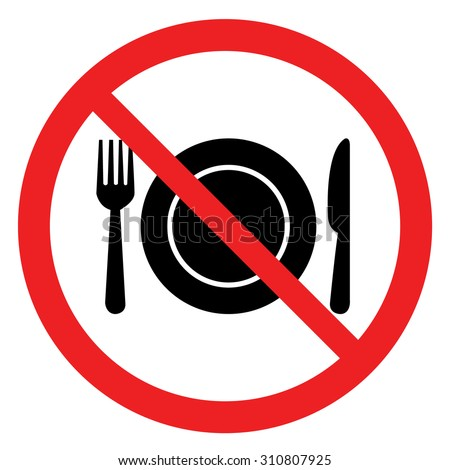 No eating sign,No Food Sign - stock vector