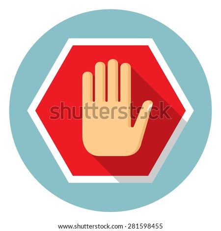No entry hand icon - stock vector