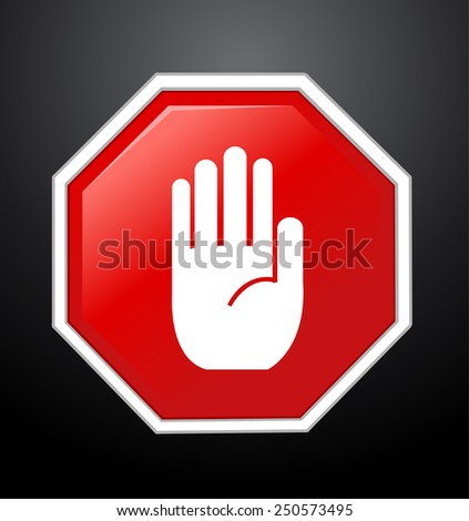 No entry hand sign on black background  - stock vector
