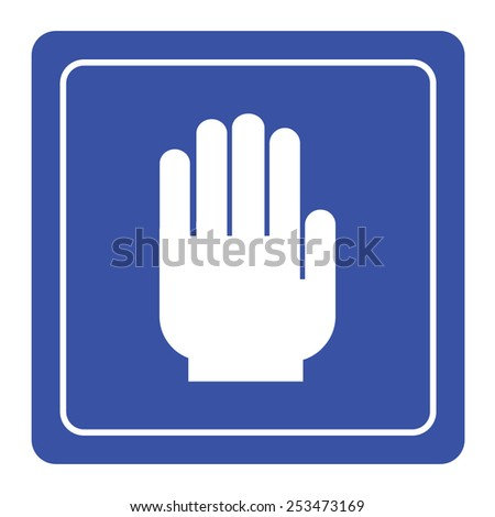 No entry hand sign on blue background - stock vector