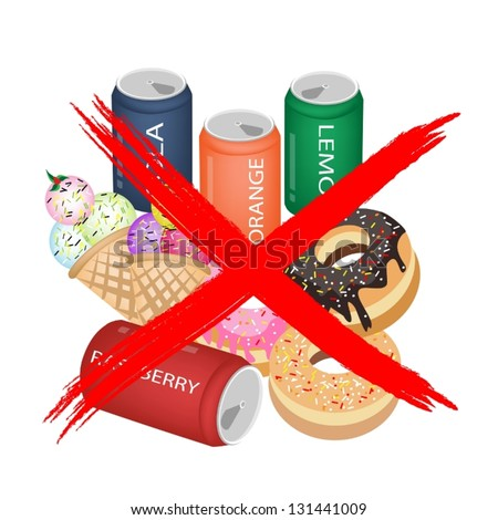 No Fast Food, An Illustration of Forbidden or Prohibition Sign on Different Types of Sweet Food, Soda Drink, Donuts and Ice Cream - stock vector