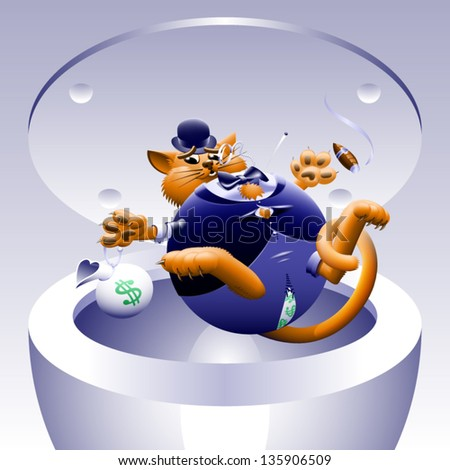 No Fat Cats 4: Cat in the Can - The corporate or Wall Street fat cat. The millionaire, billionaire big money man banker. Symbol of greed & corruption. Vector contains gradient mesh. - stock vector