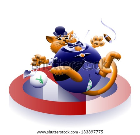 No Fat Cats 2 - The corporate or Wall Street fat cat. The millionaire, billionaire big money man banker. Symbol of greed & corruption. Vector contains gradient mesh. - stock vector
