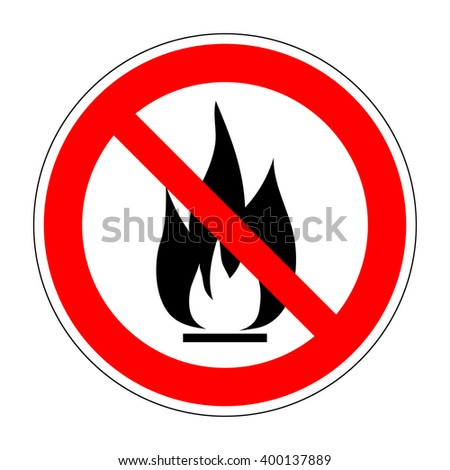No fire vector sign. Prohibition open flame symbol. Red icon on white background. No bonfire sign. Stop fire. Stop symbol. No camp-fire sign. Don't fire icon. Dangerous fire. Stock vector illustration - stock vector