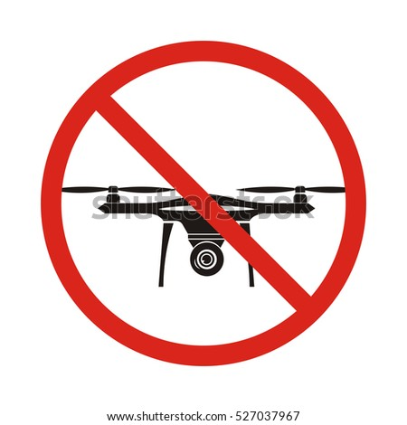 No Fly Drones Sign Zone Drone Isolated On White Background