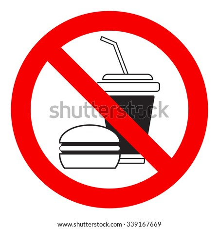 No food allowed symbol, isolated on white background, vector illustration.