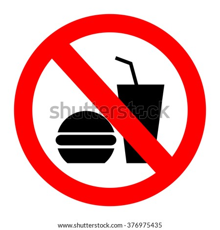 no food allowed symbol, no eating, no food or drink area sign, food and drink prohibition sign - stock vector