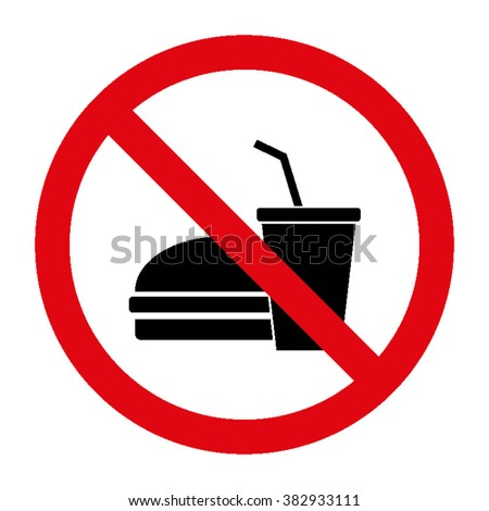 No Food Or Drinks Allowed Icon Vector Illustration - stock vector