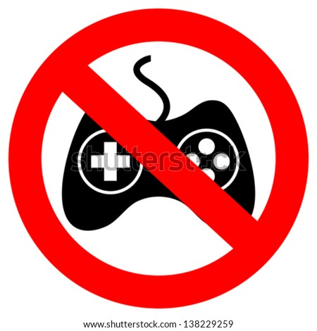 No gaming vector sign - stock vector