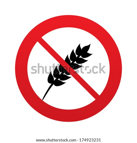 No Gluten free sign icon. No gluten symbol. Red prohibition sign. Stop symbol. Vector - stock vector