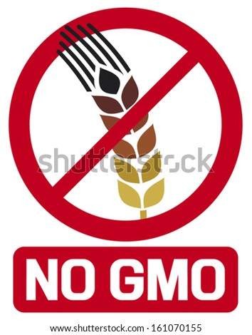 no GMO label (GMO prohibited sign, stop genetically modified foods icon) - stock vector