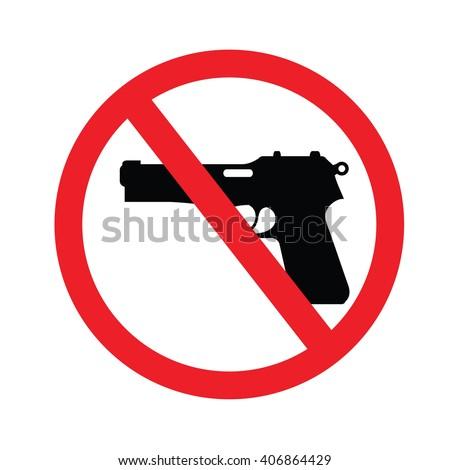 no gun sign.vector illustration. - stock vector
