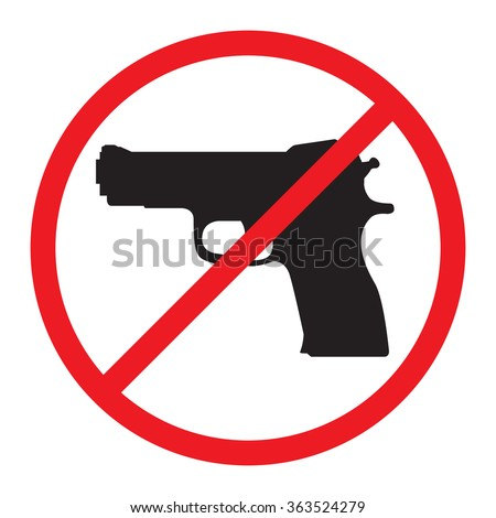 No Guns Allowed Sign. No Weapons Sign. - stock vector