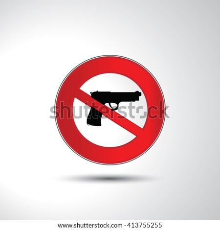 No guns no weapons prohibition sign icon illustration - stock vector