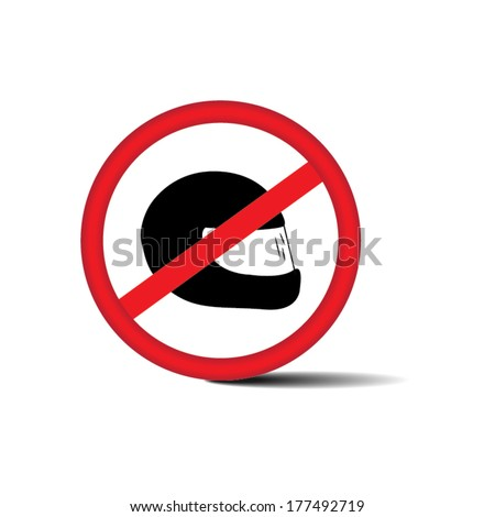 no helmet, prohibit sign - eps10 vector.  - stock vector